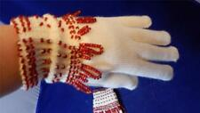 OOAK Hand-beaded Acrylic Knit Womens Gloves ONE SIZE