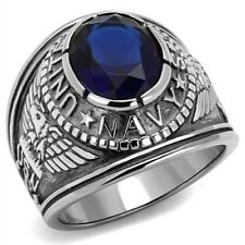 """Lucia Mens Stainless Steel 316 """"United States Navy"""" Blue Sapphire Military Ring"""