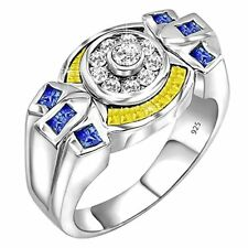 Men's Sterling Silver .925 Ring Clear  Canary Yellow CZ Stones, Platinum Plated