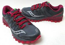 Women's Saucony Peregrine 7 Trail Grey/Berry Running Sneakers