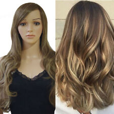 Heat Resistant Synthetic Fiber Dark Brown Ombre Straight Lace Front Hair Wig DCv