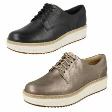 Ladies Clarks Lace Up Leather Thick Sole Creeper Style Shoes - Teadale Rhea