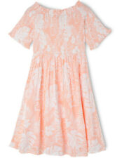 NEW Tilii Woven Shirred Bodice Dress - Palm Print Apricot