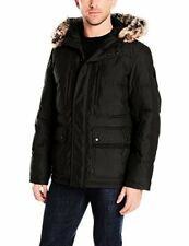 London Fog Men's Carlton Down-Filled Quilted Snorkel Parka W/ Attached Hood