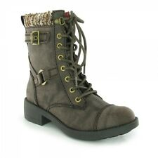 Rocket Dog THUNDER Ladies Womens Leather Lace Up Biker High Ankle Boots Brown