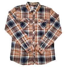 ANALOG CLOTHING ELDEN LONG SLEEVE WOVEN BUTTON DOWN SHIRT BURNT ORANGE