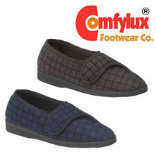 Comfylux 'Paul' Mens Nylon Check Slippers Gents Touch Fastening Comfort