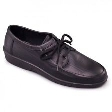 Padders REBEL Mens Leather 3 Eyelet Lace Up (F Fit) Comfy Casual Shoes Black