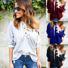 Women V Neck Lace Up Off Shoulder Hooded Casual Long Sleeve Pullover Tops Blouse