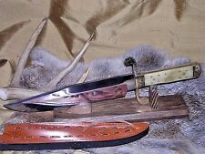 VINTAGE ANTIQUE WESTERN STYLE HUNTING BOWIE KNIFE W/ SHEATH CASE WHITE BONE !