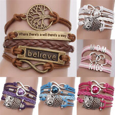 Leather Infinity Charm Bracelet Cute Leather Multilayer Infinity Love Heart ~