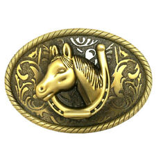 Mens Arabesque Horse Belt Buckle Rodeo Western Cowboy Silver Gold Buckle