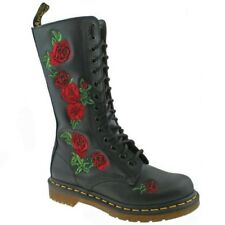 LADIES DR MARTENS VONDA BLACK SOFTY T ROSE EMBROIDERED LEATHER 14 EYELET BOOTS