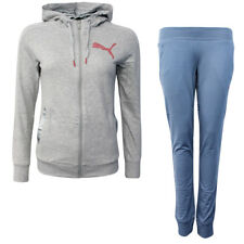 Puma FUN Graphic Womens Hooded Sweat Suit Tracksuit Grey Blue 837140 04 EE103