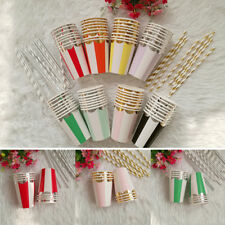 Party Paper Cups Wedding 8pcs Supplies Birthday Disposable Tableware Colorful