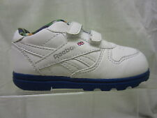 Boys Reebok Twin Strap Trainer, Coated Leather, White/Blue, Versa