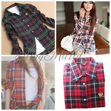 Women Button Down Lapel Casual Shirt Plaids Checks Flannel Cotton Tops Blouse L