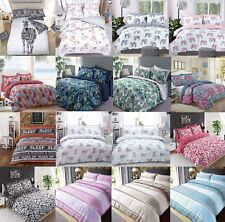 Duvet Cover with Pillowcase Quilt Bedding Set Single Double King Floral Striped