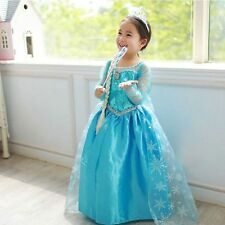 Anna Elsa Cosplay frozen Costume Party dress Girls Dresses Princess Children