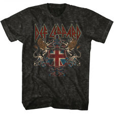 DEF LEPPARD T-Shirt CREST Mineral Vintage Wash Black Cotton in Sizes SM - 2XL
