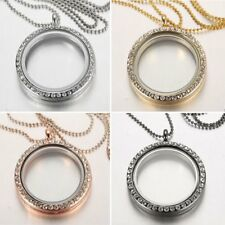 Women Crystal Living Memory Floating Charms Glass Locket Necklace Family Gift