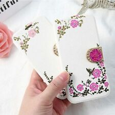 Womens Ladies Flip Flower Butterfly Print Magnetic Girl Case Cover For iPhone  M