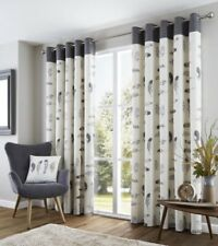 FEATHER GREY CREAM BEIGE WHITE LINED 100% COTTON ANNEAU TOP CURTAINS 8 SIZES