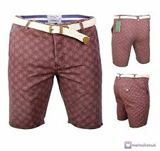 Mens Shorts Chino Shorts With Belt Summer Shorts Burgundy Nice Item! Size S - XL
