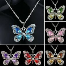 Crystal Butterfly Animal Pendant Necklace Long Chain Jewelry Mother's Day Gift