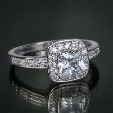 1.25 Carat Promise Engagement RING Princess Cut White Gold Plated Size 5-9