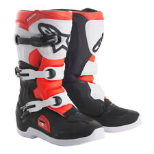 NEW Alpinestars Tech 3s YOUTH KIDS MX Motocross Boots - Black/White/Red Fluo