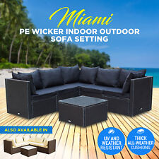 NEW PE Wicker Garden Set Indoor Outdoor Sofa Lounge Couch Setting Furniture