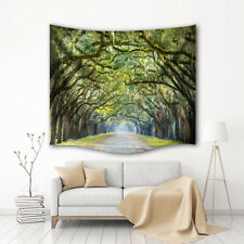 Oak Avenue Tapestry Wall Hanging Nature Trees Green Print Hanging Decor for Dorm