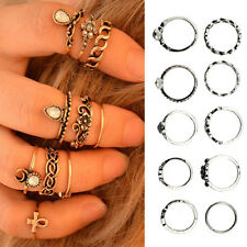 Punk Hollow Flower Midi Finger Rings Set Rhinestone Above Knuckle 10Pcs Witty