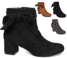 WOMENS HIGH HEEL FAUX SUEDE SHORT ZIP SLIP ON ANKLE SHOE BOOTS SIZE 3-8
