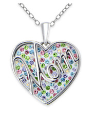 "Sterling Silver Crystal Open Heart 18-Inch Chain ""Mom"" Overlay Pendant Necklace"