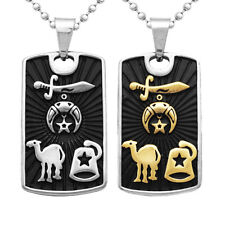 Mens Black Stainless Steel Camel Sword Star Dog Tag Necklace Ball Bead Chain