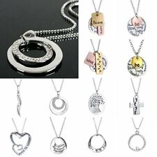 Fashion Charm Jewelry Crystal Silver Reversible Long Chain Bid Pendant Necklace