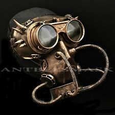 Steampunk Halloween Flip Up Goggles & Pipe Gas Burning Man Cosplay Masks