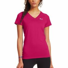 Womens Under Armour Tech Shortsleeve V-Neck Shirt Exuberant Pink/Silver Size X-