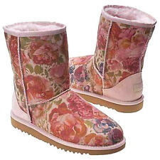 NIB Genuine UGG Classic Pink Rose Blush Pink Floral Romance Boots Sizes 9 or 3