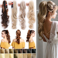 Real natural Clip in Hair Extensions Claw on Ponytail 100% Real Blonde Brown AT8