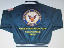 USS SPRUANCE  DD-963 *  NAVY ANCHOR EMBROIDERED 2-SIDED SATIN JACKET