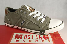 Mustang Lace Up Sneakers Low Shoes Trainers Rubber Sole Khaki NEW
