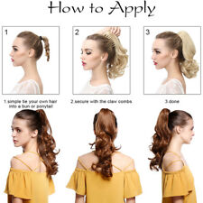 Real Natural Claw Clip in Claw on Ponytail as Human Soft Long Hair Extensions PF