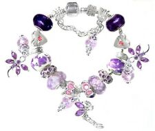 Purple Dragonfly Tinkerbell Fairy Pink Crytsal Beads European Charm Bracelet