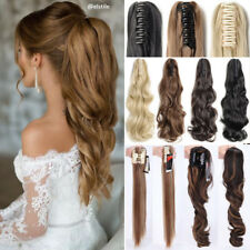 One Piece Claw On Ponytail Clip In Hair Extensions Pony Tail Thick Fake Hair KT7