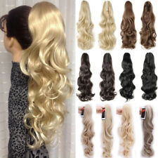 US Lady Clip In Ponytail Pony Tail Hair Extensions Jaw Claw On Curly Wavy P41