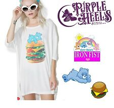Iron Fist Care Bears White Wish Burger Bear Fast Food Tee Size XS or S