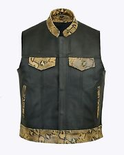 MEN LEATHER WAIST COAT MOTORCYCLE VEST COAT SNAKE LEATHER ALL SIZES
